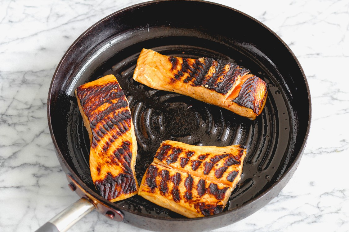 overhead image of grilled salmon