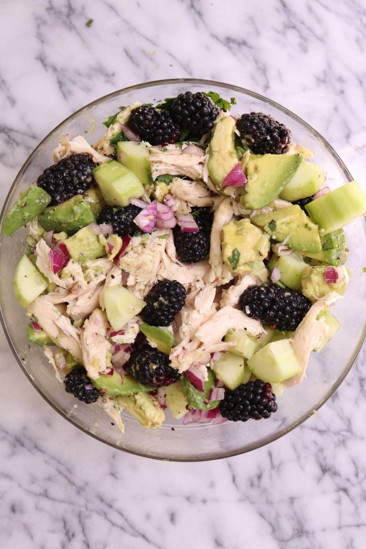 overhead image of chicken avocado salad