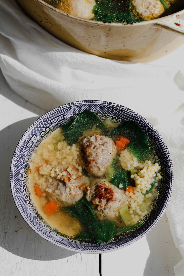 overhead image of Italian wedding soup