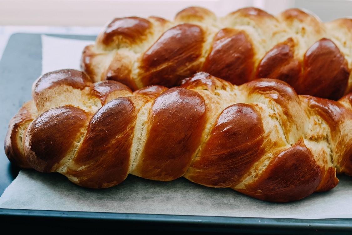 overhead image of sourdough discard challah bread