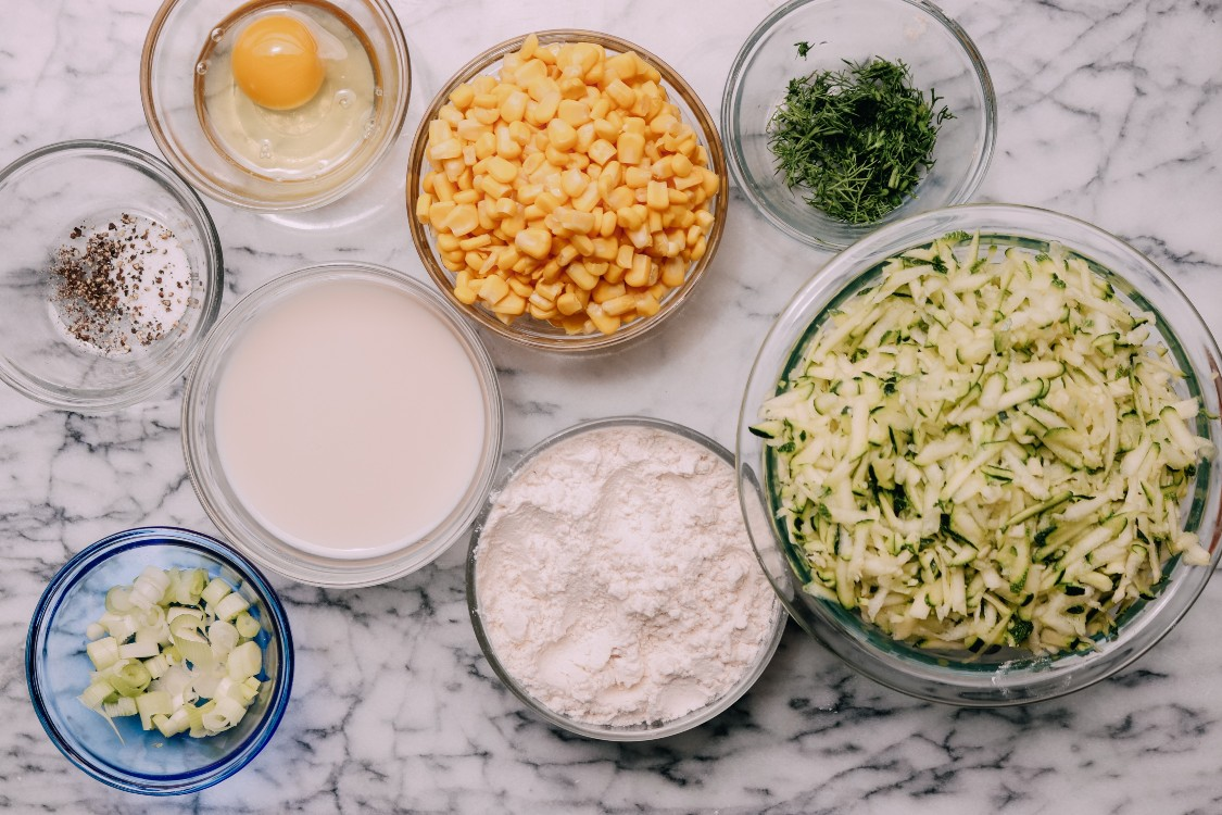 image of making zucchini and corn fritters