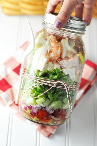 Quick and Easy Homemade Snacks Salad in a Jar Shrimp and Feta Cobb Salad in Mason Jar School Lunch