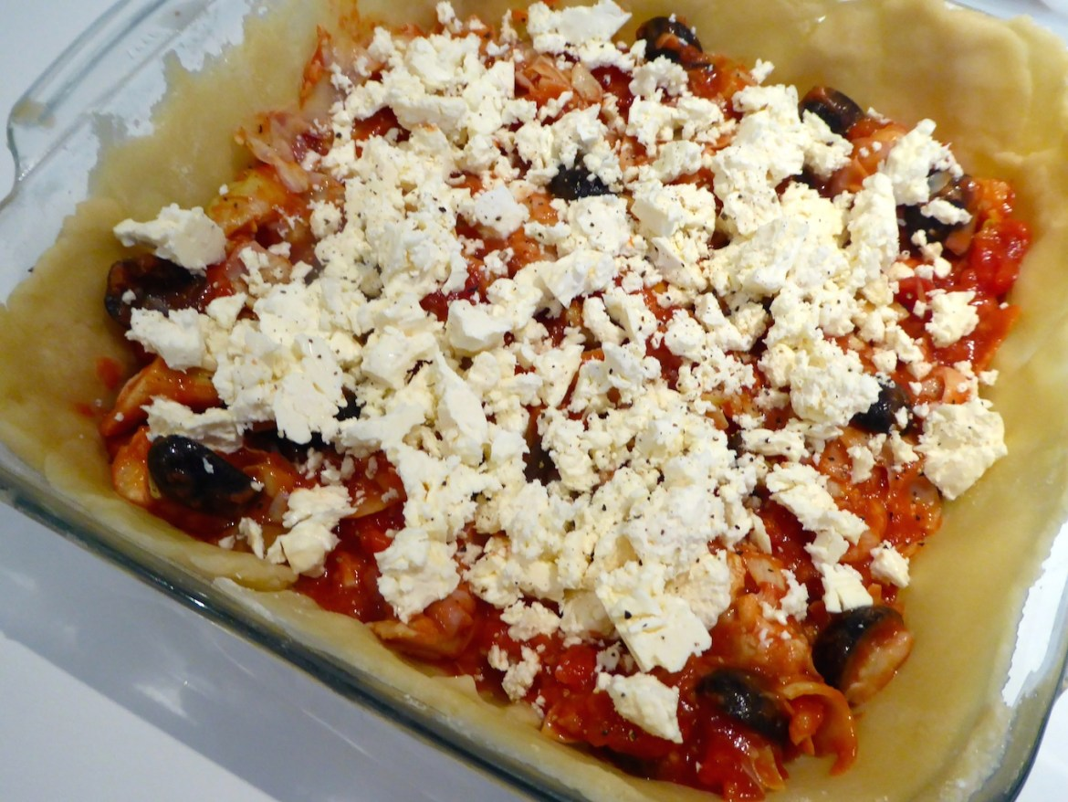artichoke feta tomato and olive pie