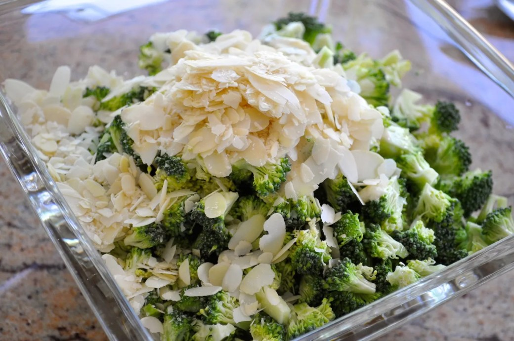 cauliflower and broccoli salad with almonds