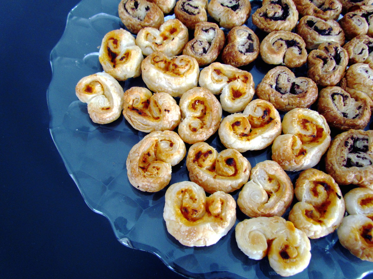 pesto rosso and olive tapenade palmiers