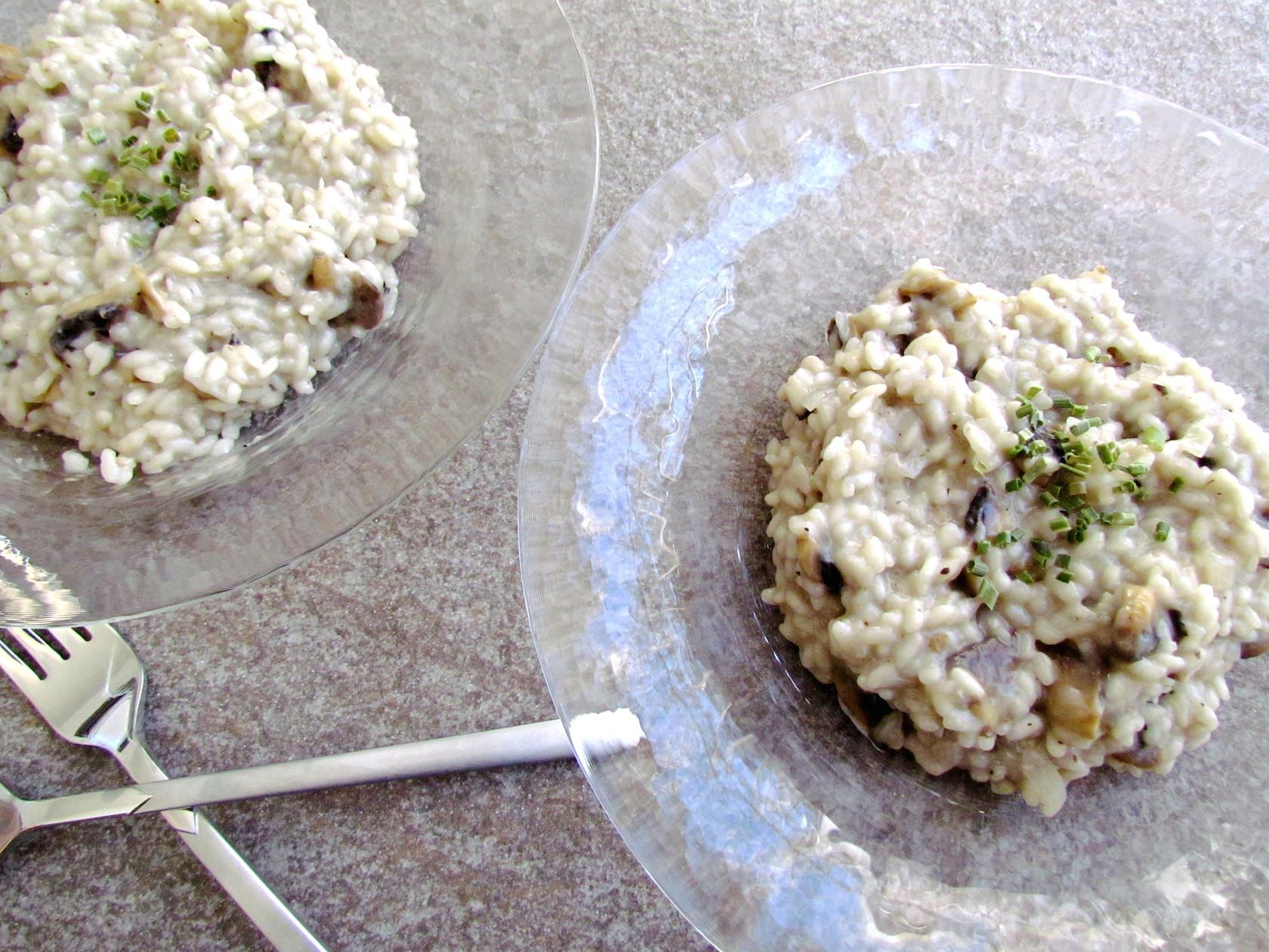 mushroom and truffle oil risotto