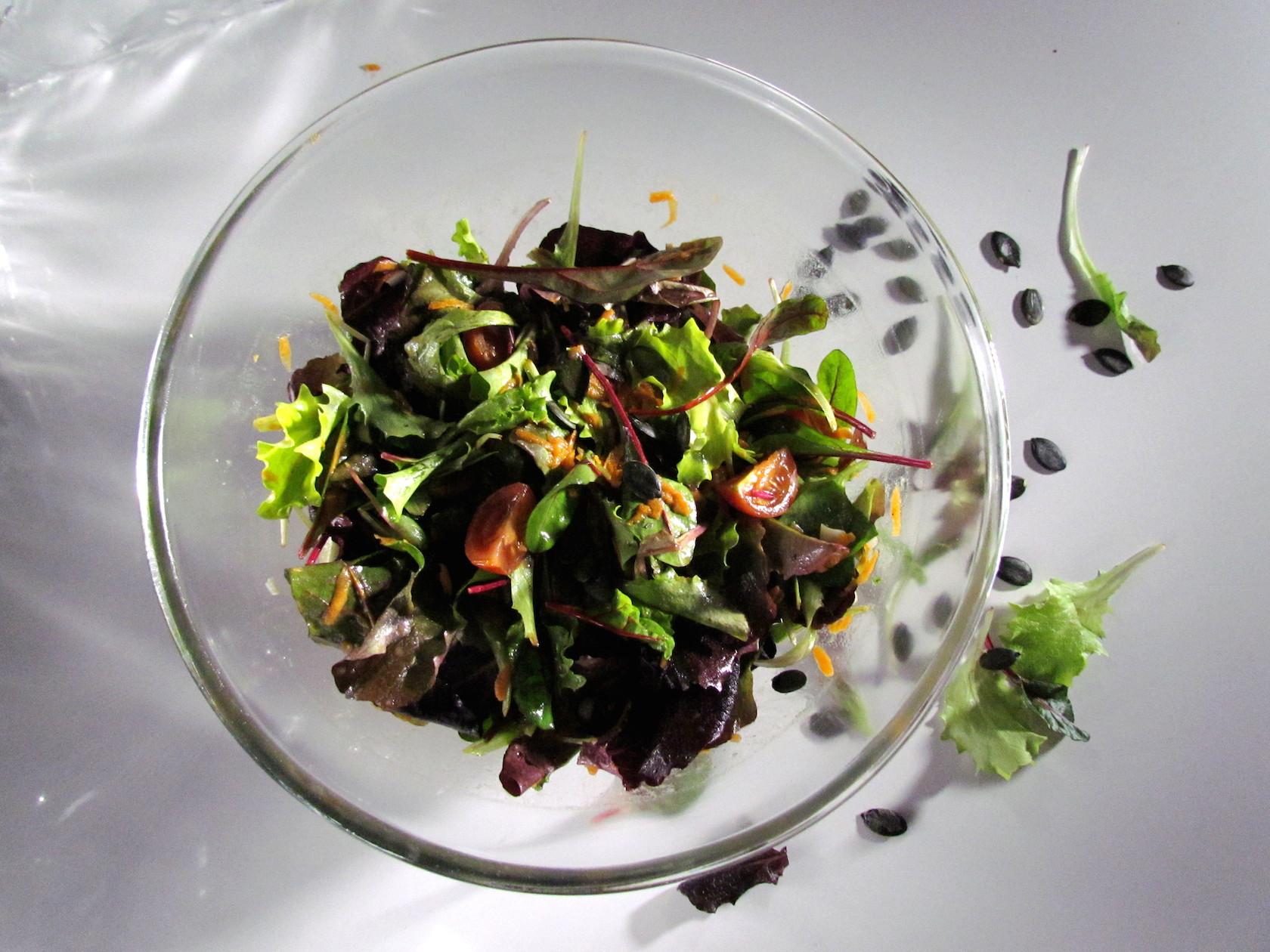 green salad with orange vinaigrette