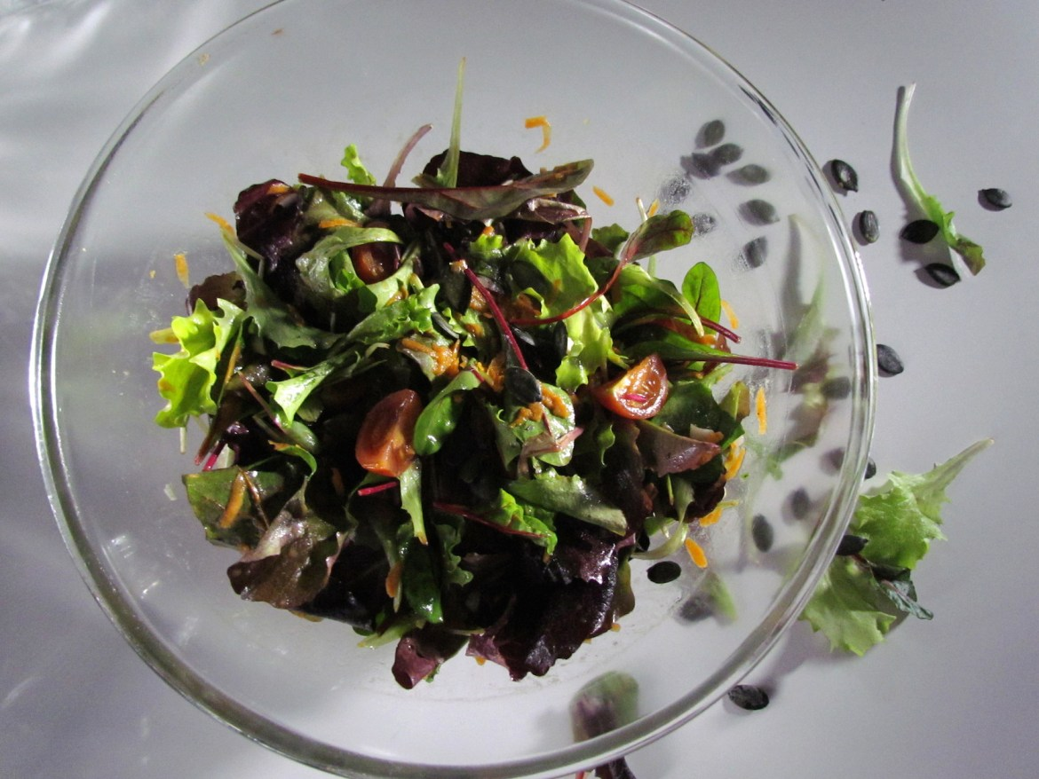 green salad with orange vinaigrette