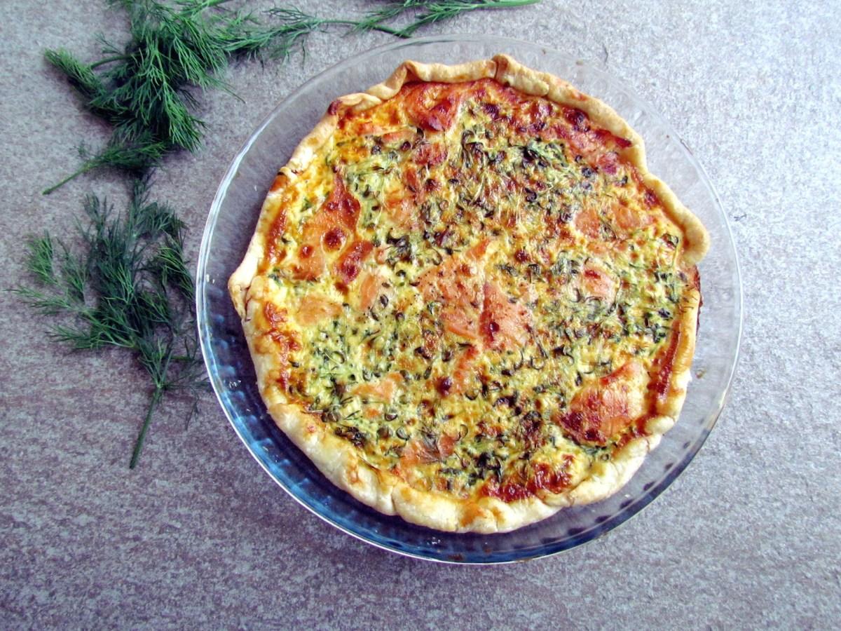 salmon watercress quiche