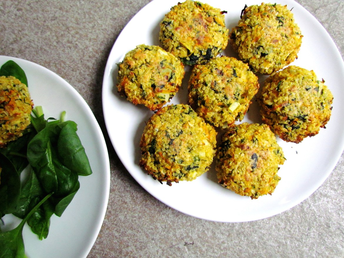 crispy spinach-carrot quinoa patties