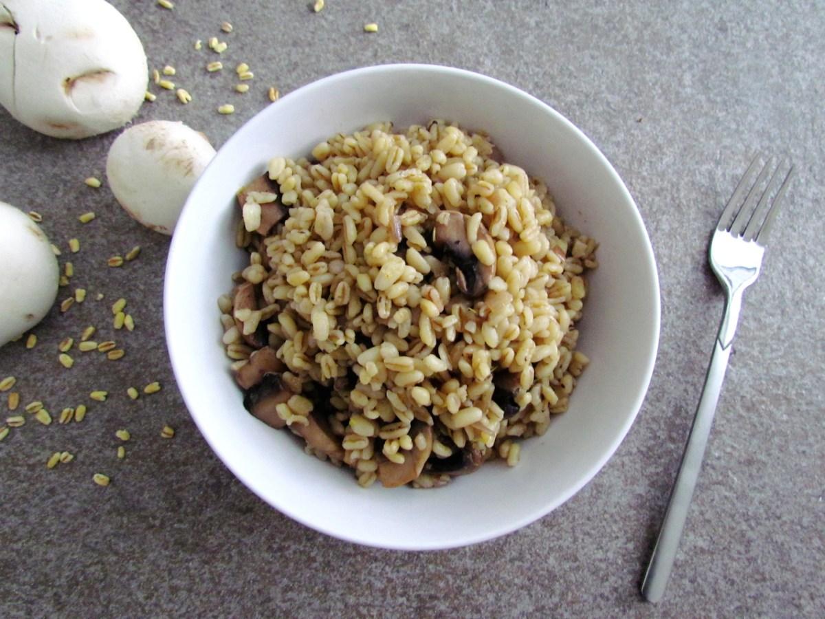mushroom wheat berry saute