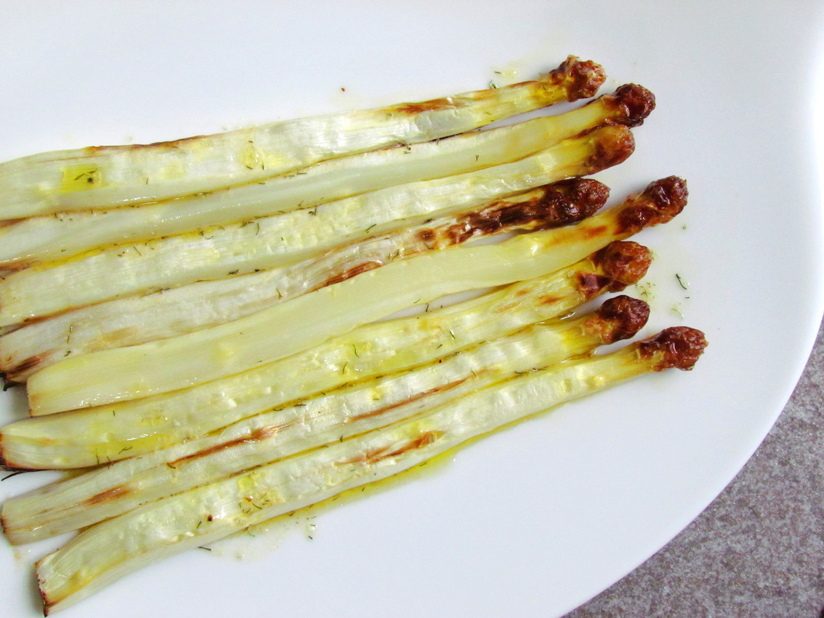 roasted white asparagus with mustard-dill vinaigrette