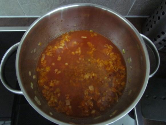 cooking lentils in tomato paste   www.savormania.com