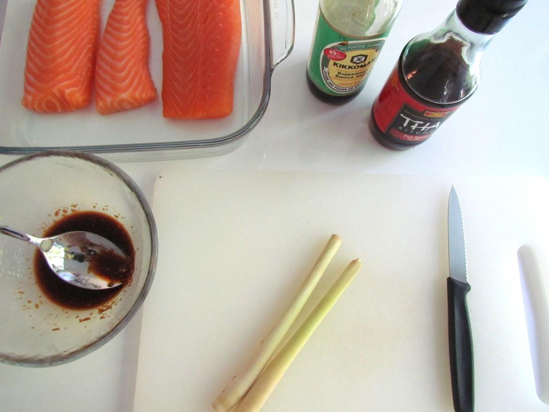 ingrédients pour saumon gingembre citronnelle