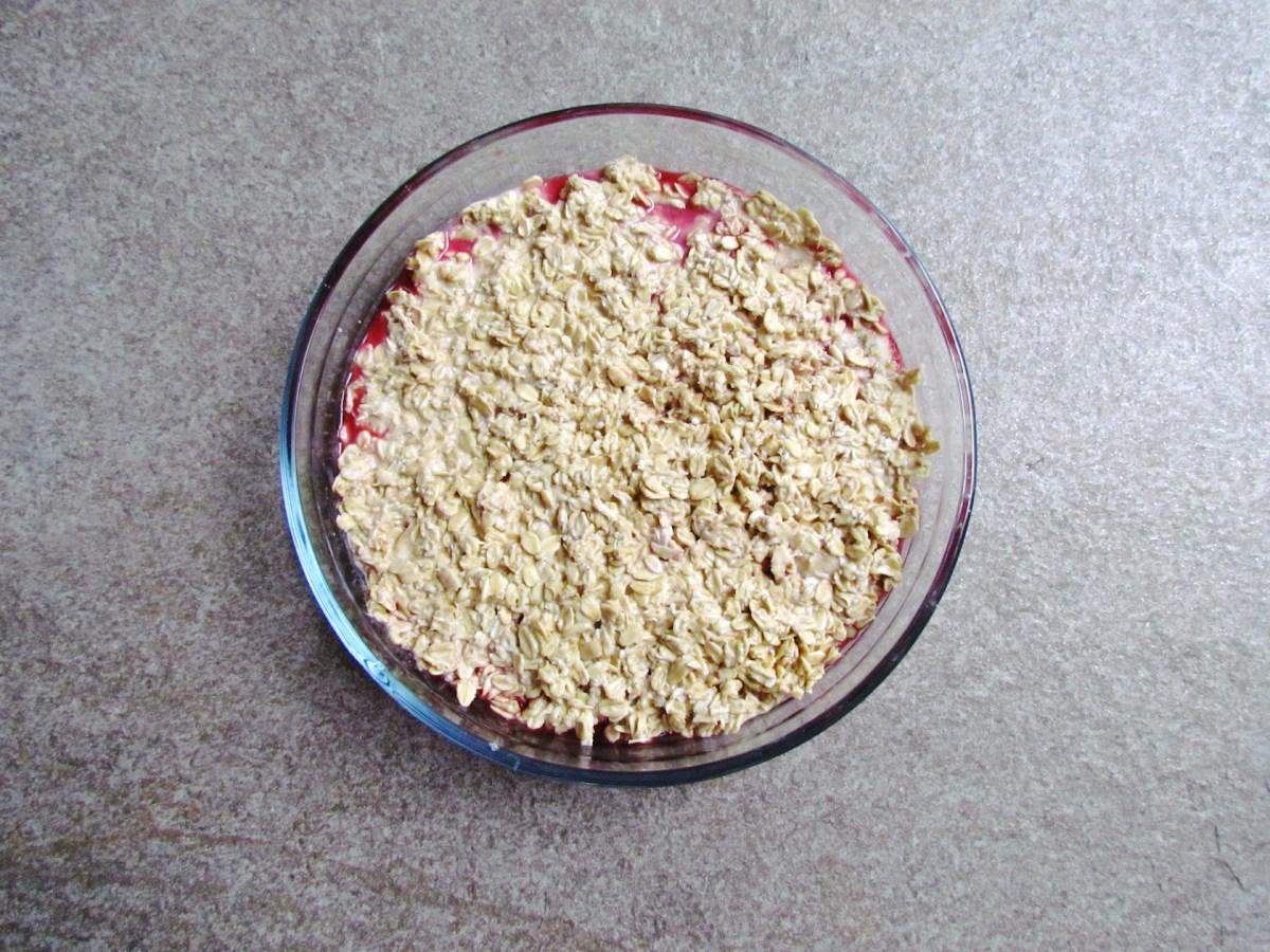 making mixed berry and banana baked oatmeal