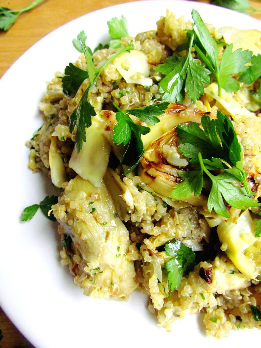 quinoa aux artichauts poêlés, citron et persil