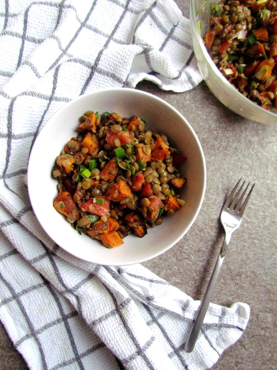roasted sweet potato and lentil salad