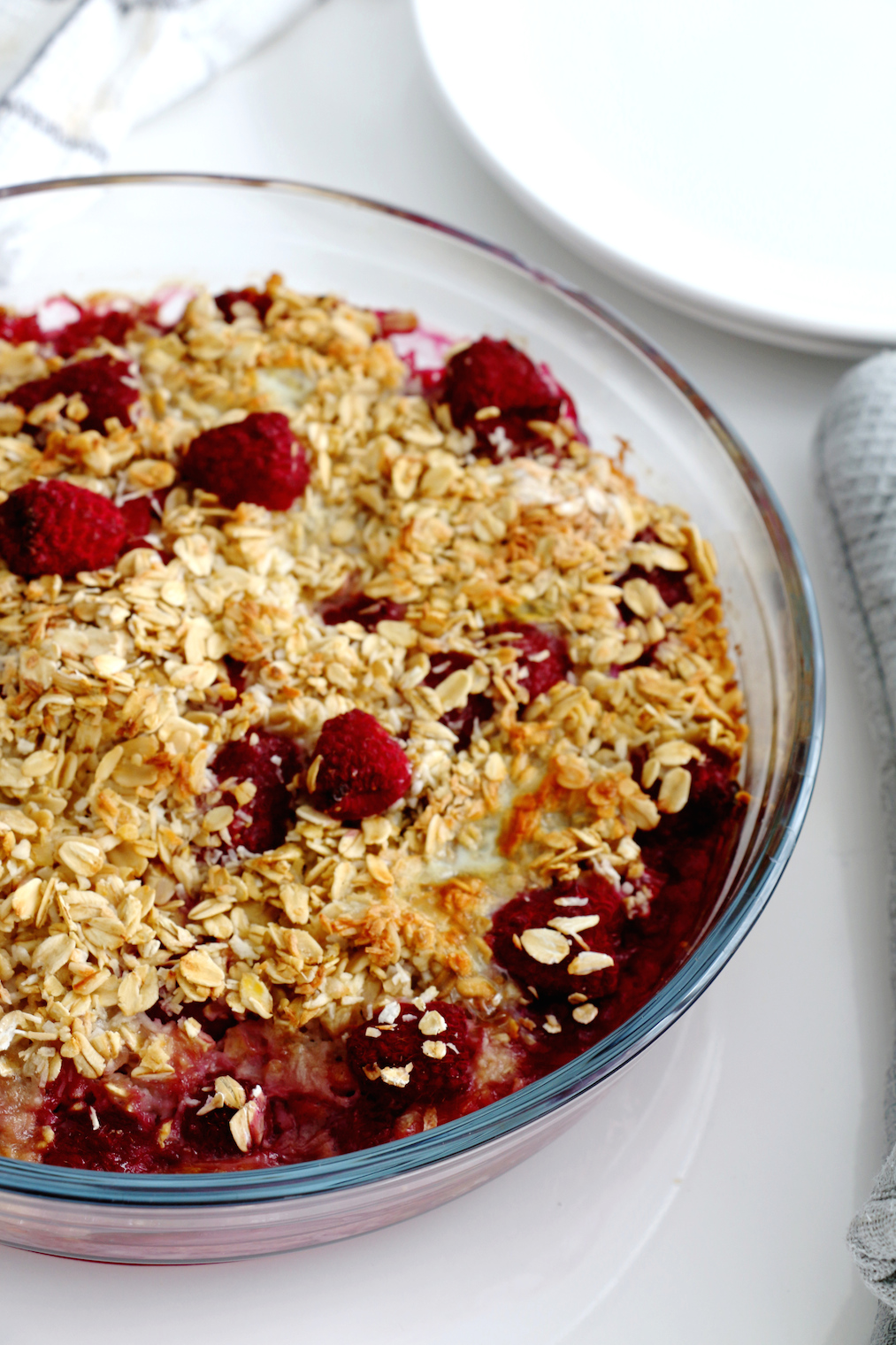 baked raspberry and coconut oatmeal