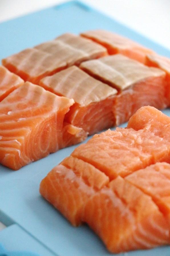 cubed salmon fillets   www.savormania.com