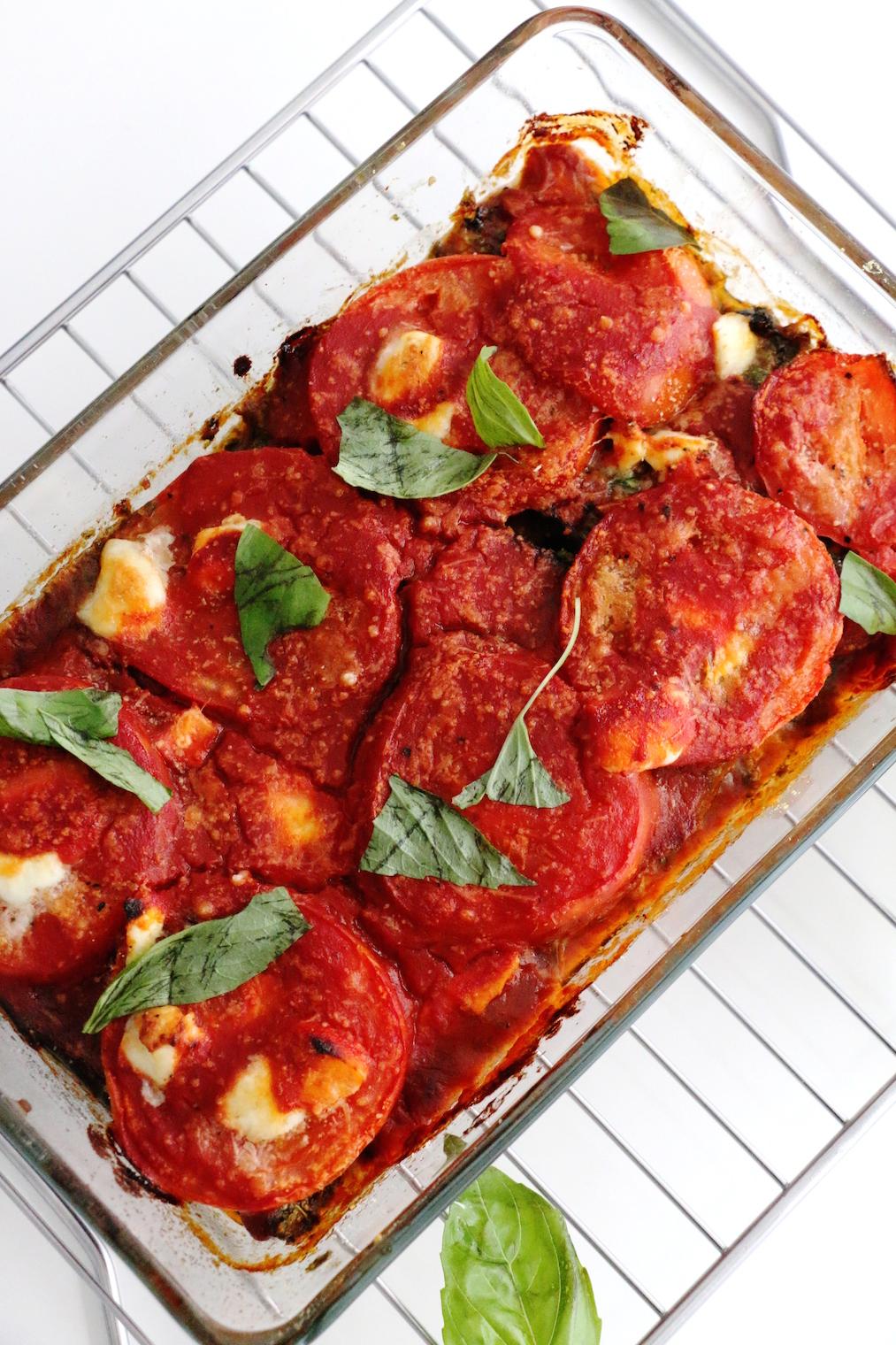 roasted eggplant tomato and arugula gratin