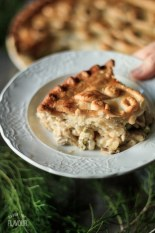 a slice of chicken and mushroom pie on a plate