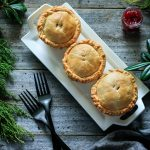 Leftover Turkey and Cranberry Mini Pies: an easy comfort food dinner recipe packed with dark meat turkey, cranberry sauce, potatoes, onion, and creamy gravy. Your family will love having these mini meat pies for dinner tonight! | www.savortheflavour.com #thanksgivingleftovers #turkey #cranberry #meatpie #pastry