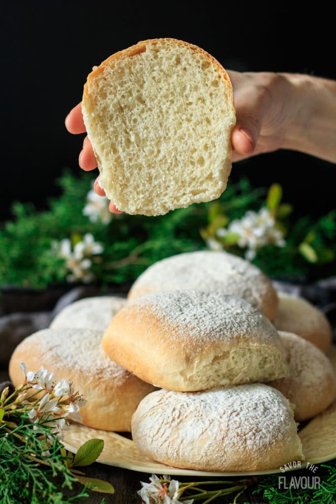 Waterford Blaas: an easy recipe for traditional Irish white bread rolls. These homemade rolls make amazing sandwiches, and taste good just with butter! Eat like the Irish and try them at breakfast. You'll love these crusty, pull apart buns with a soft center.   www.savortheflavour.com #stpatricksday #irish #blaa #breadrecipe #baking