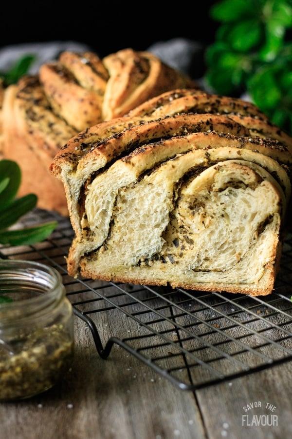loaf of bread sliced open