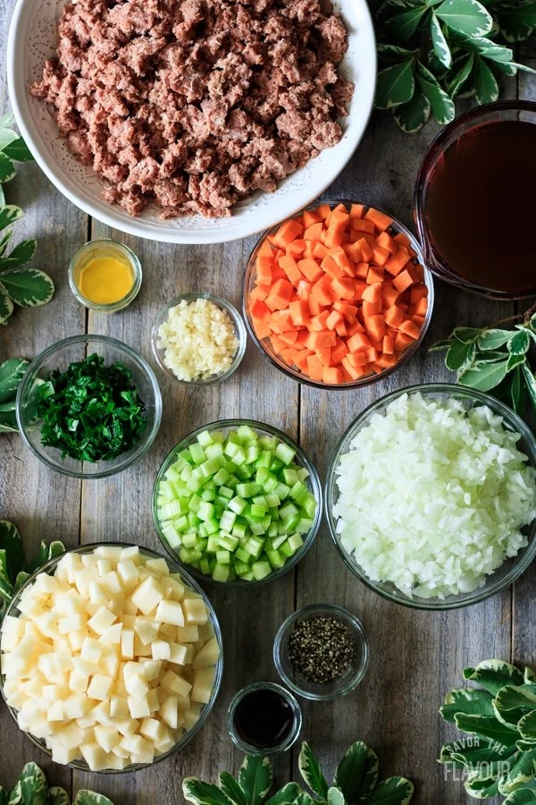 ingredients for the filling of a corned beef pie