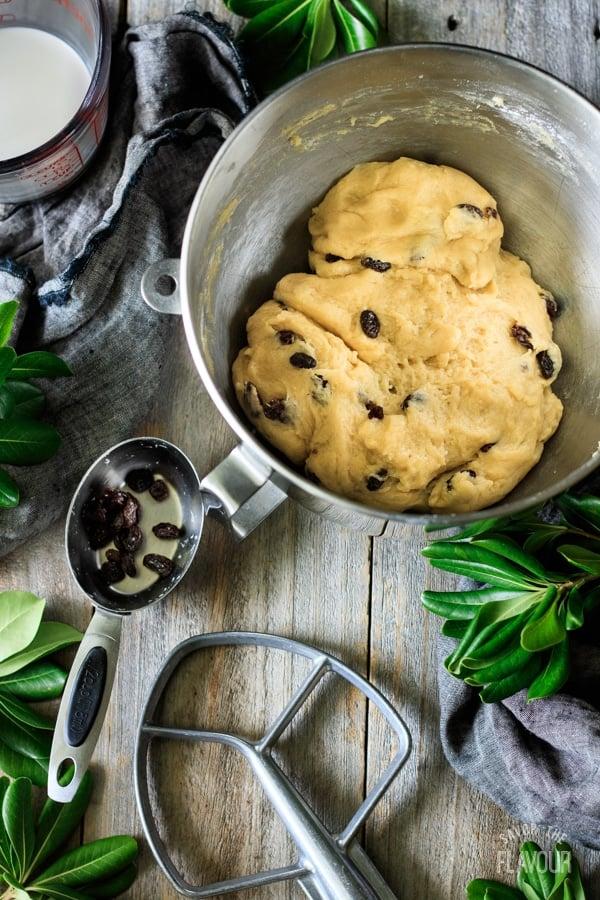 the vánočka dough in a mixing bowl