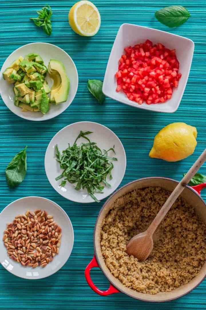 top down view on ingredients for quinoa salad
