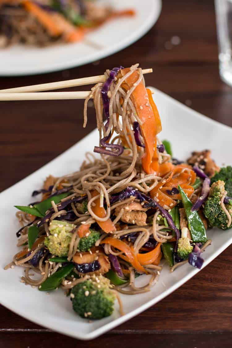 Soba Noodles with Honey Soy Chicken | savorynothings.com