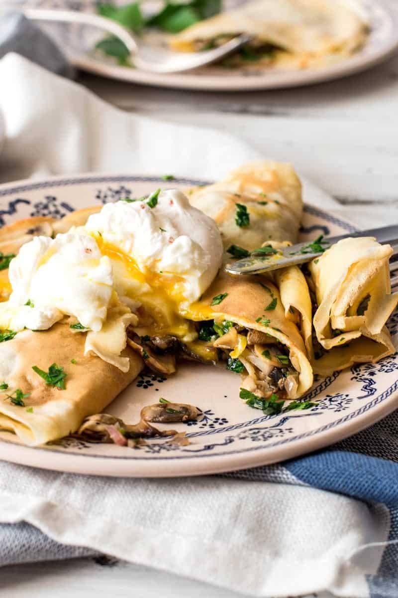 Mushroom Crêpes with Poached Eggs   savorynothings.com