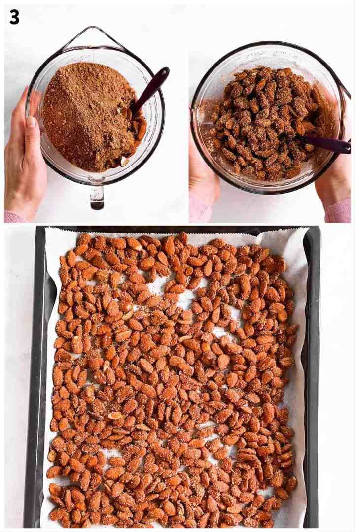 photo collage to show how to coat and bake nuts to make candied almonds