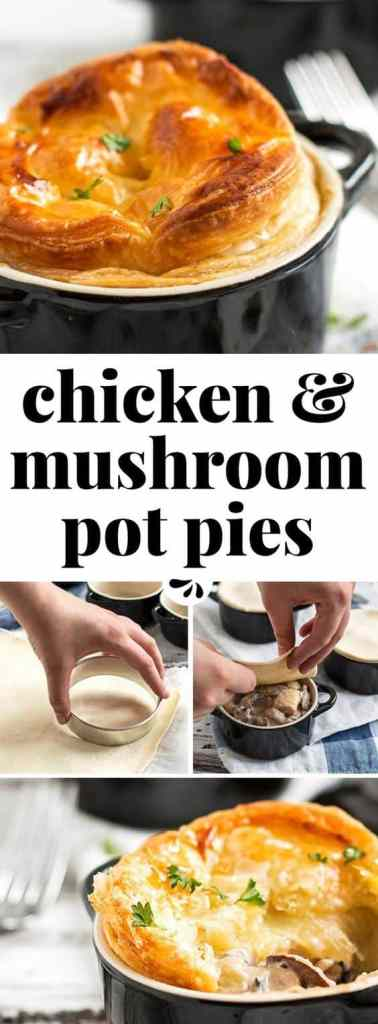 step by step images for chicken and mushroom pot pies