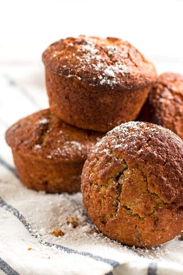 stack of cinnamon apple muffins