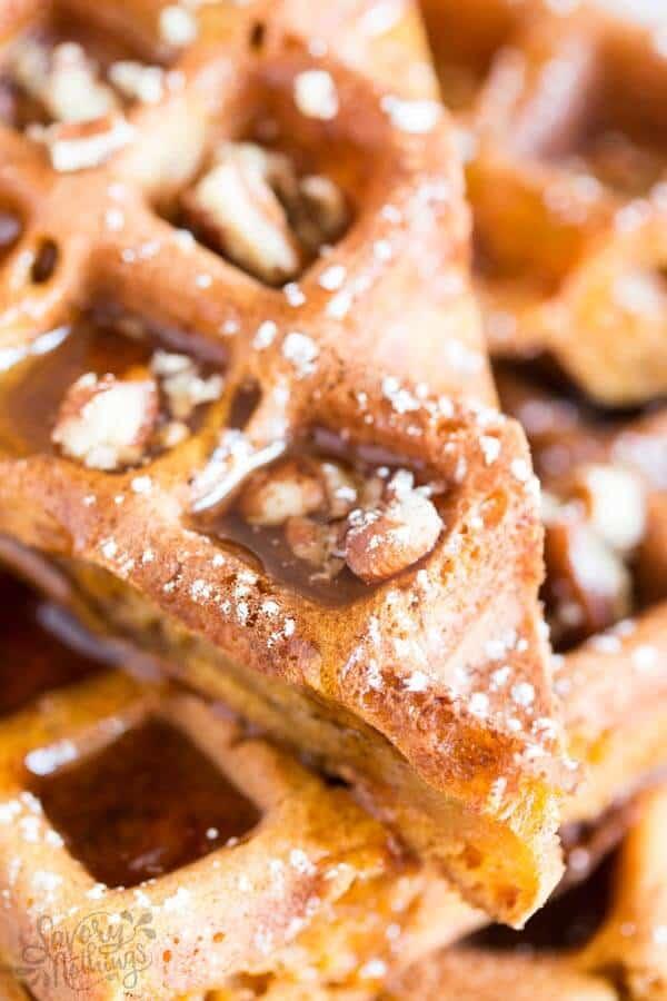 close up photo of a pumpkin spice waffle