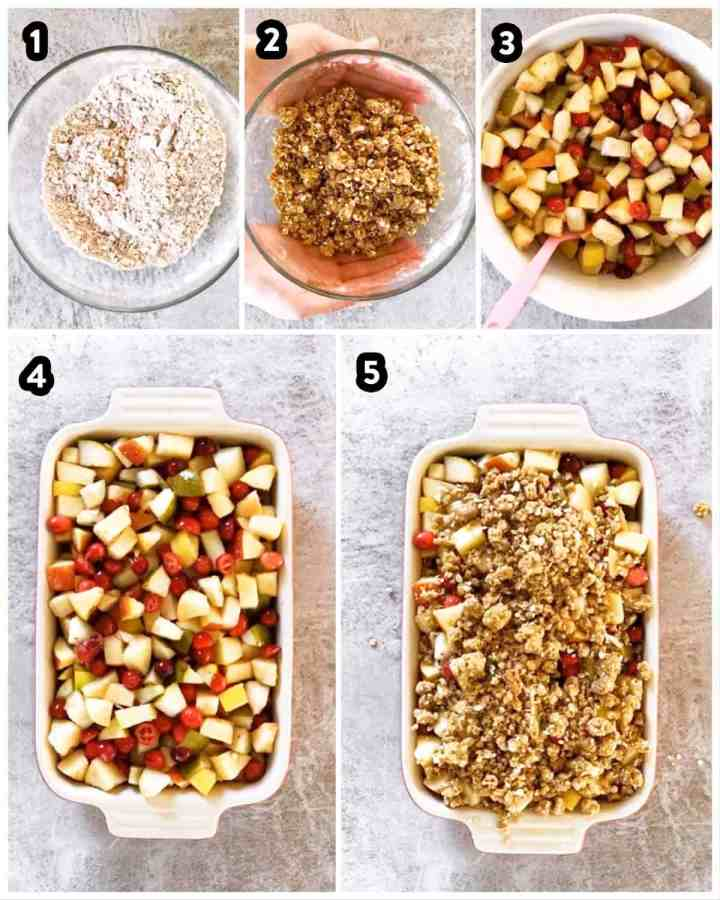 photo collage to show steps in holiday fruit crisp