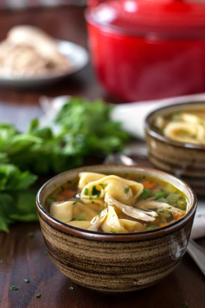 This Chicken Noodle Soup is extra special because it uses tortellini instead of plain old egg noodles! It's such a simple, homemade soup recipe but you will love all the flavors coming together. A secret ingredient takes it to the next level!