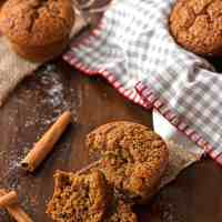 This easy Healthy Triple Ginger Gingerbread Muffin recipe yields amazing bakery-style results! You will love these because they are quick to make, require only one bowl and no electric mixer and contain no butter or white sugar! The best healthy holiday recipe!
