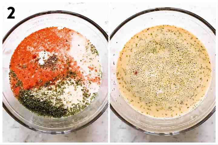 photo collage to show how to make egg mixture for a breakfast casserole