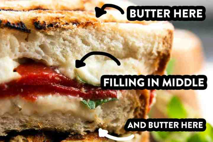 "close up of grilled cheese with mushrooms, with text overlays ""butter here"", ""filling in middle"", ""and butter here"""