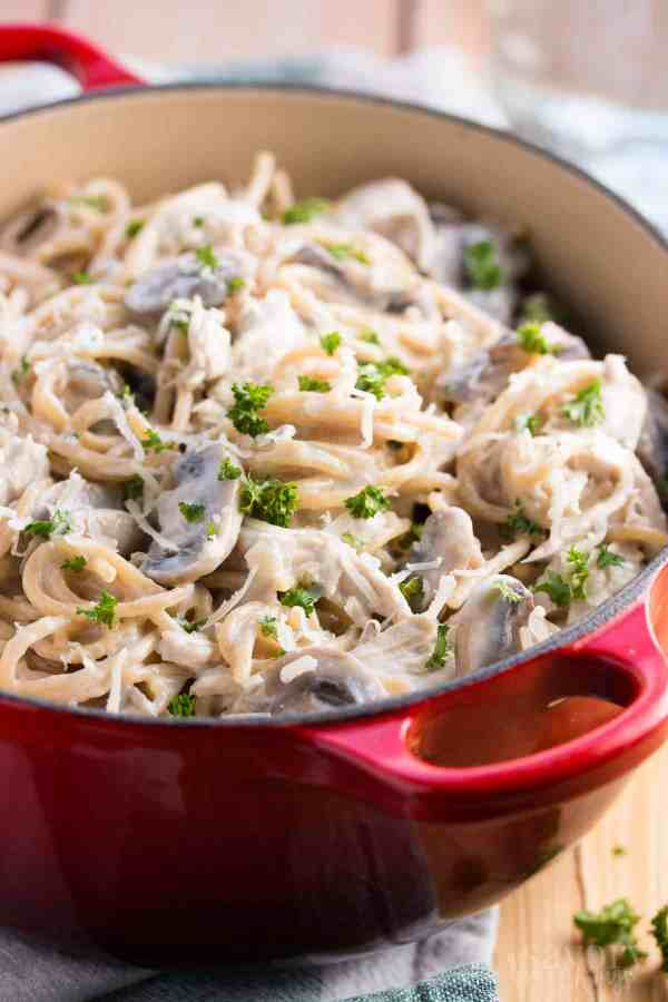 Relax your dinner time with this 30 Minute Healthy Stovetop Turkey Tetrazzini recipe. It's quick and easy to make and is sure to become a new family favorite.   savorynothings.com