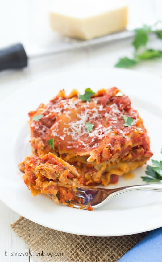 slow cooker lasagna on white plate