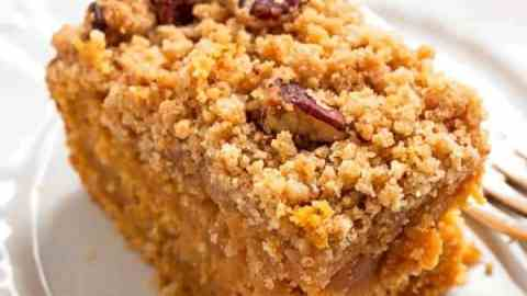 This sweet potato cake will make you forget ALL about pumpkin for a second. It's moist and fluffy like quick bread, but the streusel makes it taste like the best coffee cake ever!