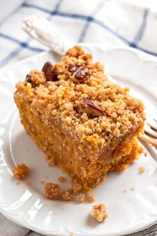slice of sweet potato coffee cake on a white plate