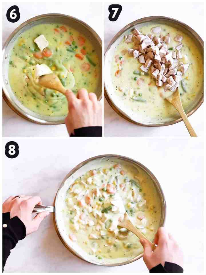 collage of steps to show assembly of pot pie filling