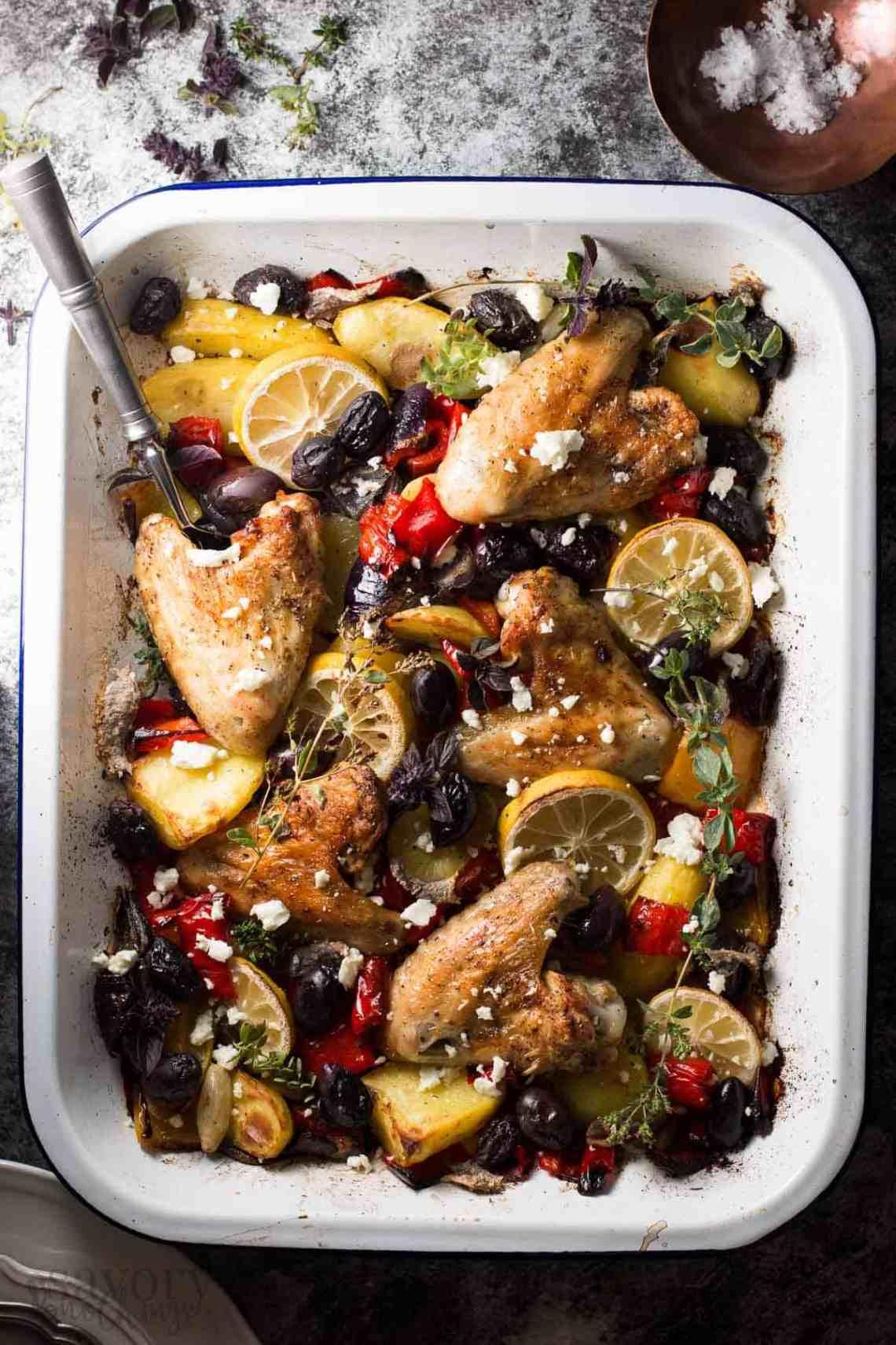 Easy Baked Chicken Dinner - Greek Lemon Chicken with Veggies
