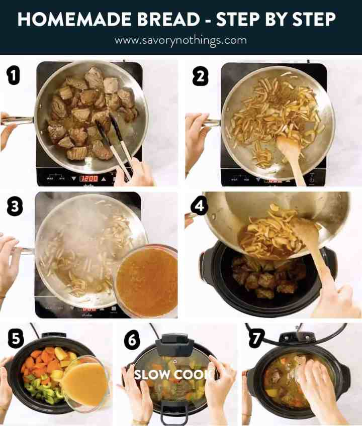 photo collage of steps to make Irish stew