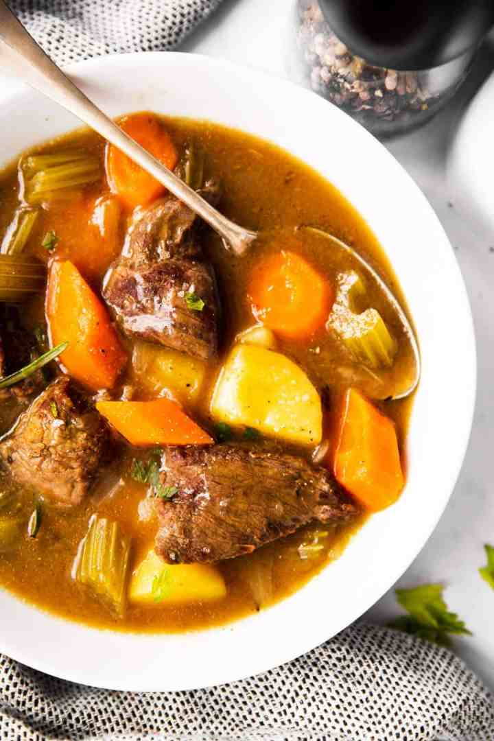 close up photo of Irish beef stew in a bowl